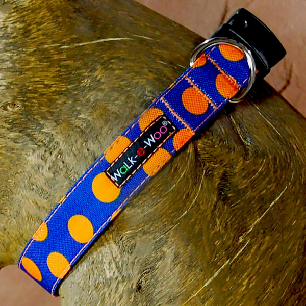 Walk-e-Woo Polka Dot Collar | Orange on Blue | Peticular