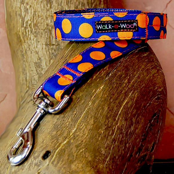 Walk-e-Woo Polka Dot Lead | Orange on Blue | Peticular