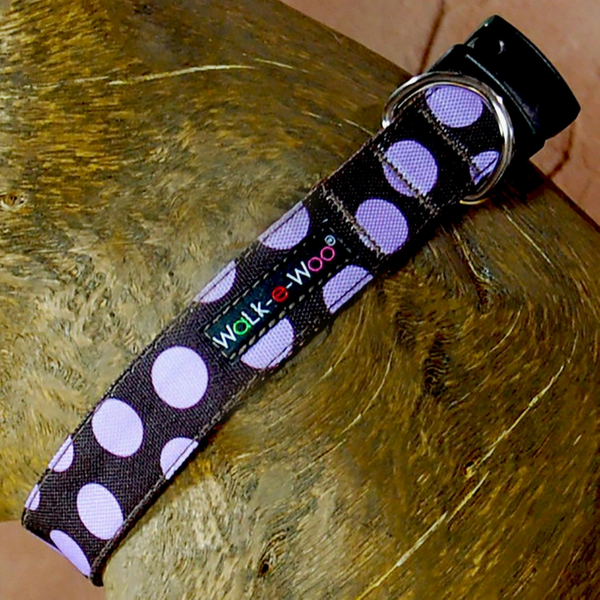 Polka Dot Collar | Purple on Brown - Peticular