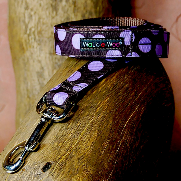Polka Dot Lead | Purple on Brown - Peticular