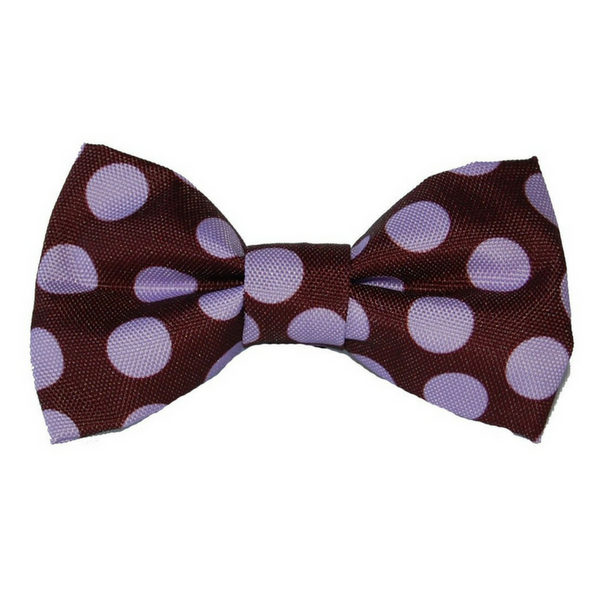 Walk-e-Woo Polka Dot Bow Tie | Purple on Brown | Peticular