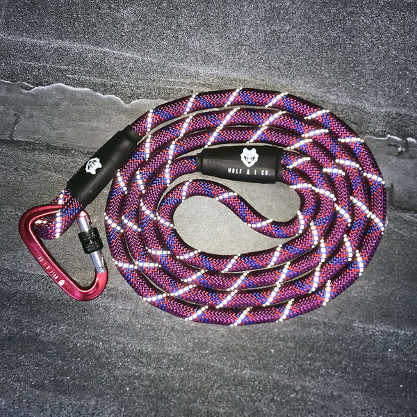 Wolf & I Co. Cherry Bomb Reflective Climbing Rope Dog Leash | Peticular