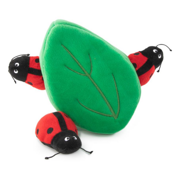 Zippy Paws Interactive Dog Toy | Ladybugs In Leaf | Peticular