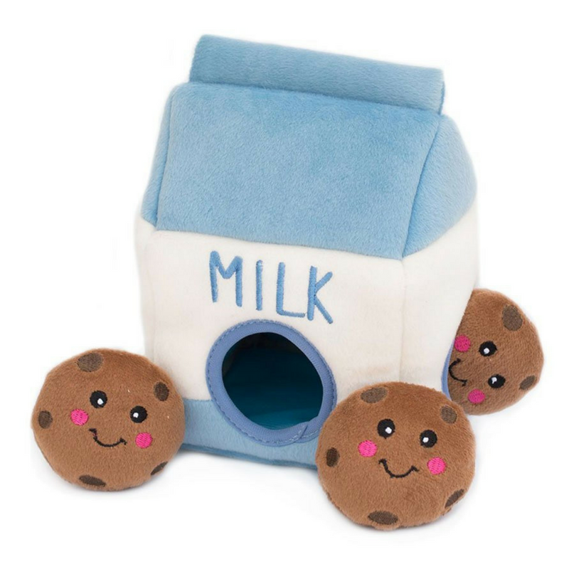 Zippy Paws Interactive Dog Toy | Milk & Cookies | Peticular