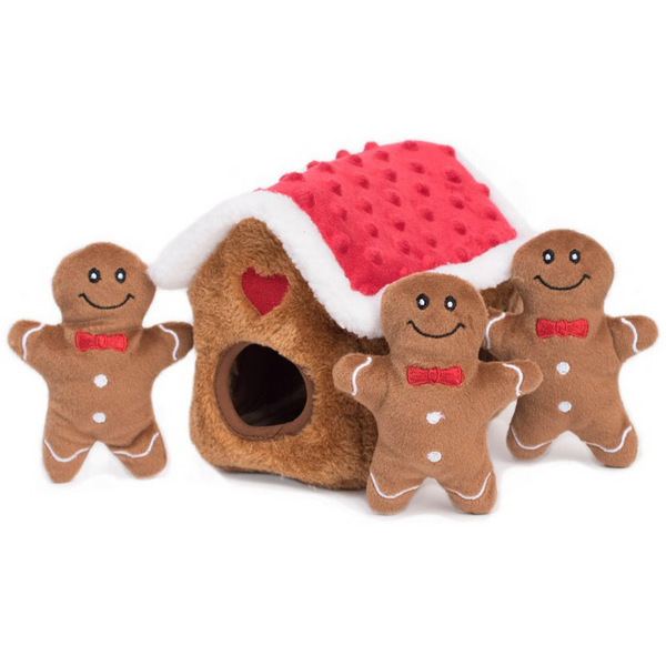 Zippy Burrow Interactive Dog Toy | Gingerbread House