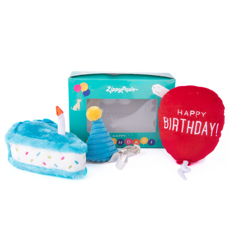 Zippy Paws Doggie Birthday Box | Cake, Balloon & Party Hat | Peticular
