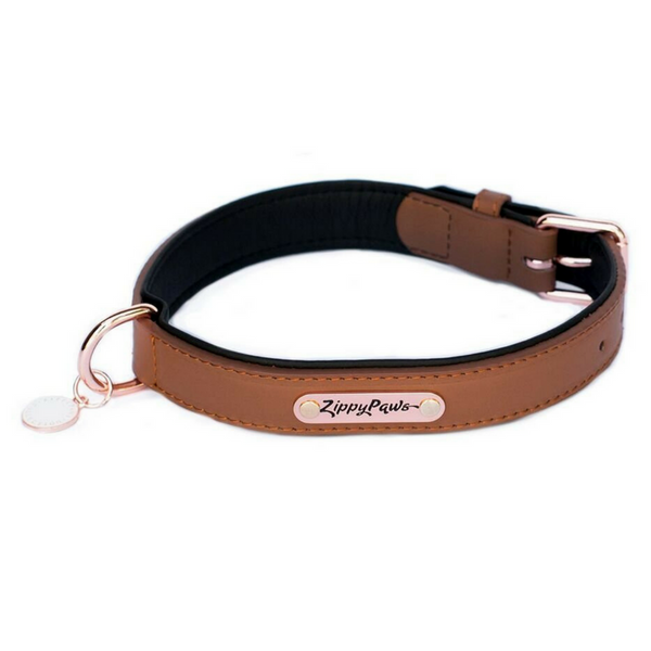 Zippy Paws Leather & Rose Gold Dog Collar | Brown | Peticular
