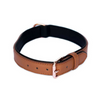 Leather & Rose Gold Dog Collar | Brown