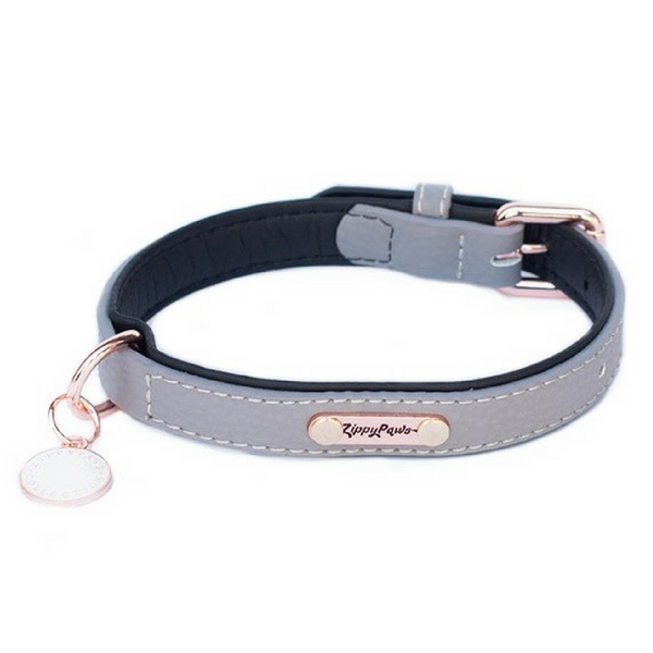 Zippy Paws Leather & Rose Gold Dog Collar | Slate | Peticular