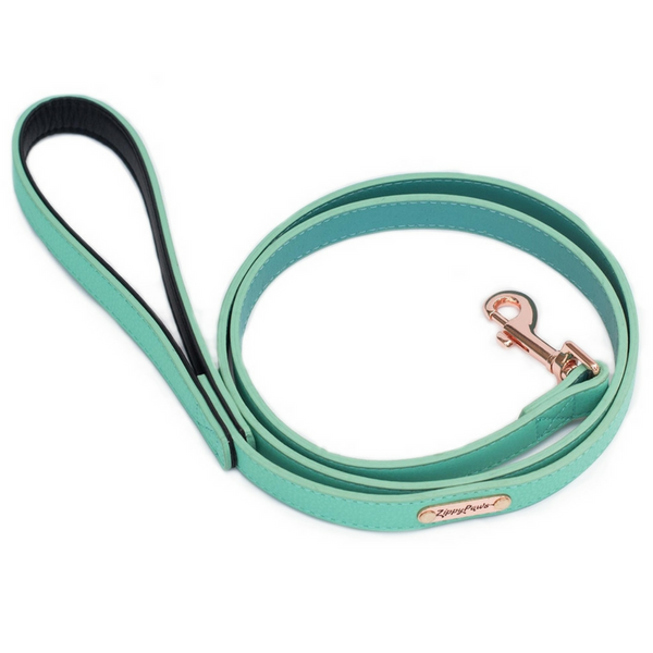 Zippy Paws Leather & Rose Gold Dog Lead | Teal | Peticular