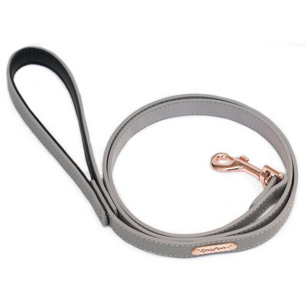 Zippy Paws Leather & Rose Gold Dog Lead | Slate | Peticular