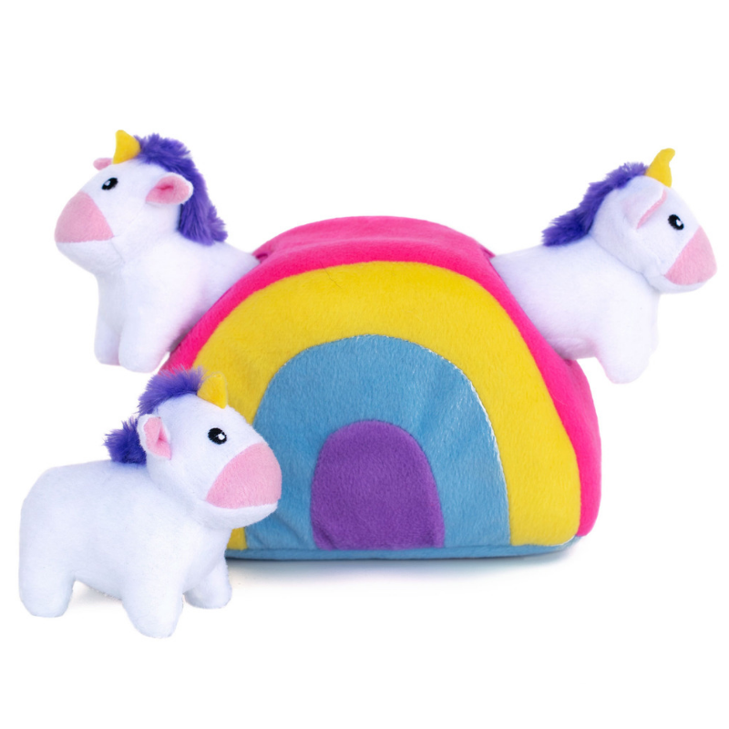 Zippy Paws Interactive Dog Toy | Unicorns In Rainbow | Peticular
