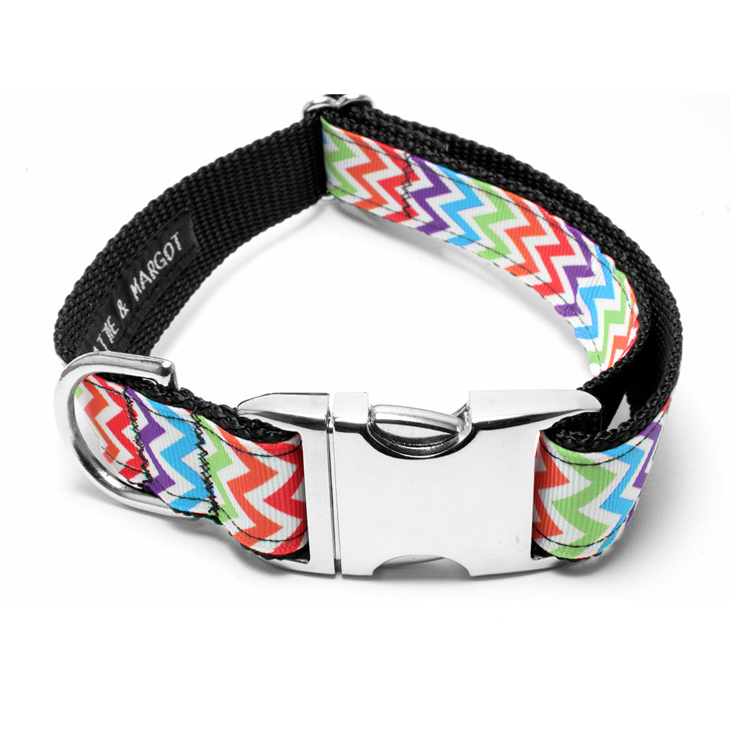MATTIE + MARGOT Bright Rainbow Chevron Dog Collar | Peticular