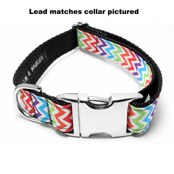 MATTIE + MARGOT Bright Rainbow Chevron Dog Lead | Peticular