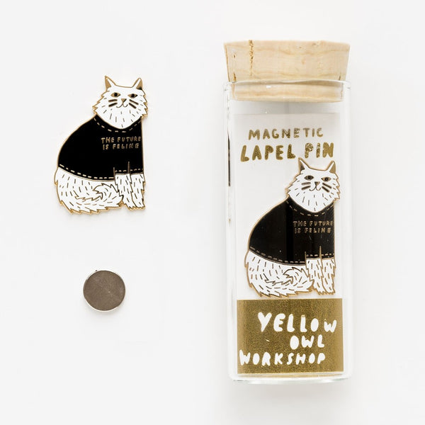 Yellow Owl Workshop Lapel Pin | Future is Feline | Peticular