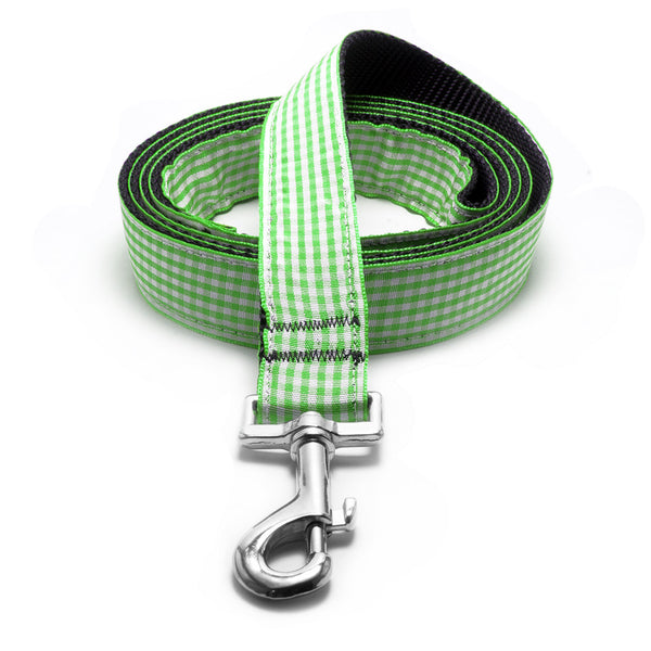 Apple Green Gingham Dog Lead