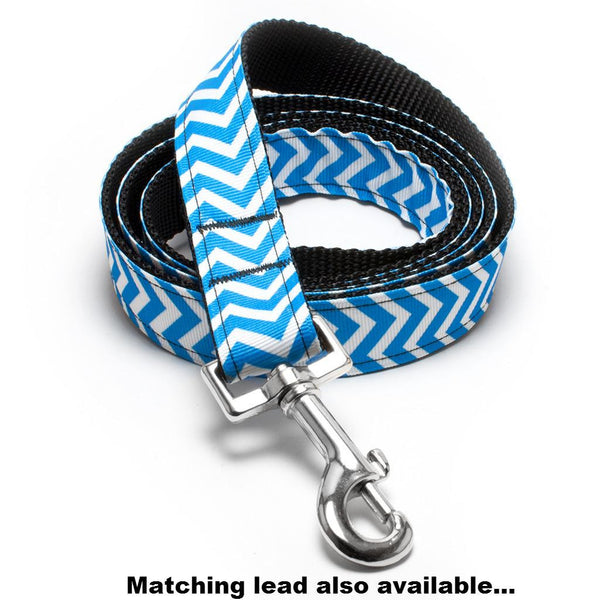 MATTIE + MARGOT Blue Magic Chevron II Stripe Dog Collar | Peticular