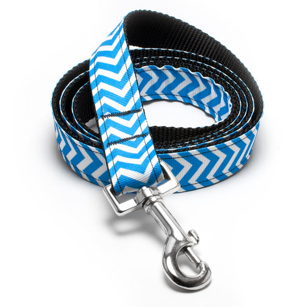MATTIE + MARGOT Blue Magic Chevron II Stripe Dog Lead | Peticular