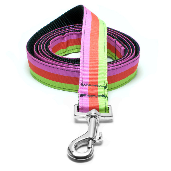MATTIE + MARGOT Green/Orange/Pink Tri-Stripe Dog Lead | Peticular