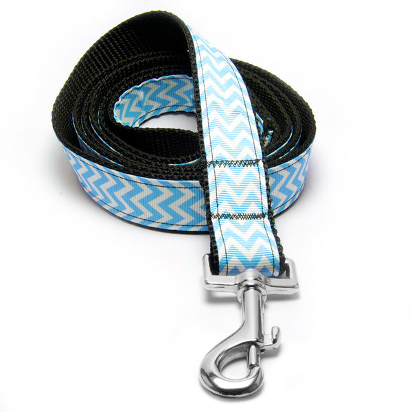 MATTIE + MARGOT Light Blue Chevron Stripe Dog Lead | Peticular