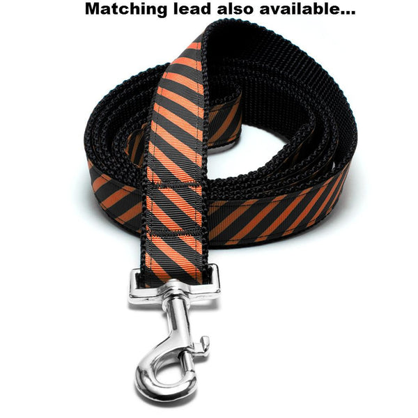 MATTIE + MARGOT Orange/Black Stripe Dog Collar | Peticular