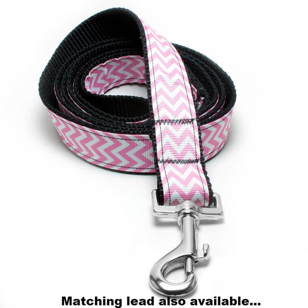 MATTIE + MARGOT Pink Chevron Stripe Dog Collar | Peticular