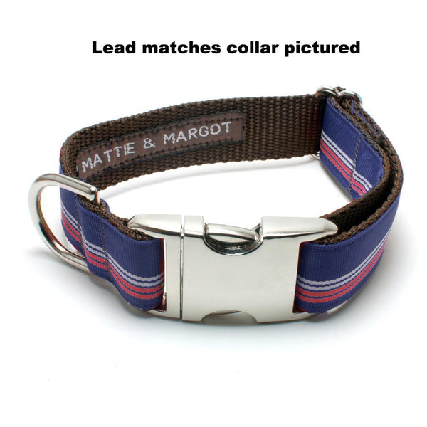 MATTIE + MARGOT Retro Stripe Navy/White/Red Dog Lead | Peticular