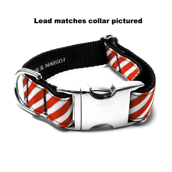 MATTIE + MARGOT Red/White Stripe Dog Lead | Peticular