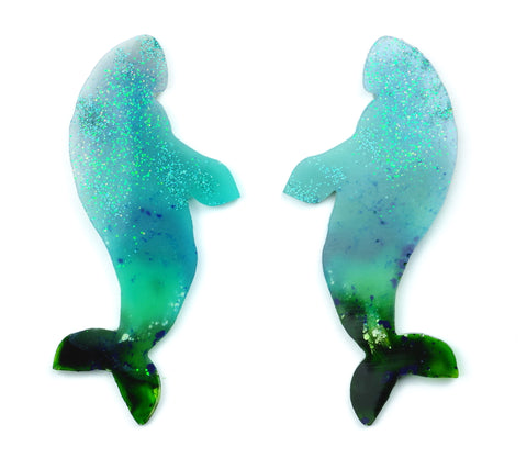Large dugong resin statement earrings pair