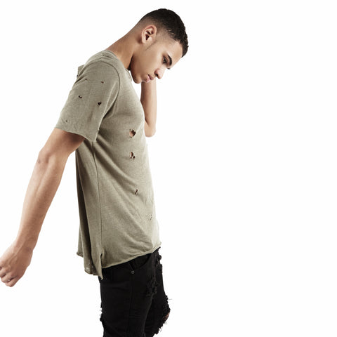 D10V2 Exile Distressed Tee - Khaki - underated london - underatedco - 1