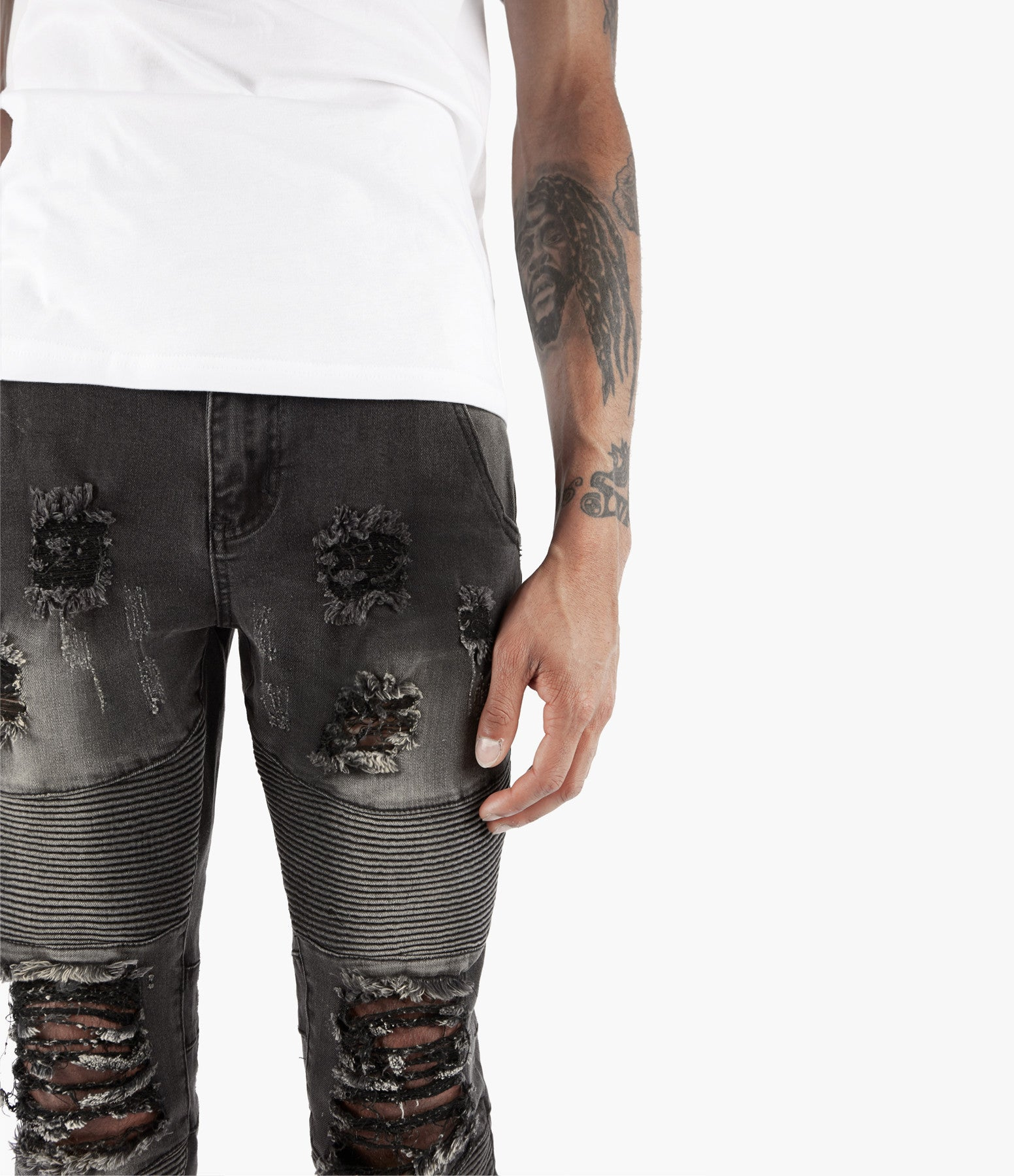JN152 Distressed Stone Wash Biker Denim - Black - underated london - underatedco - 5