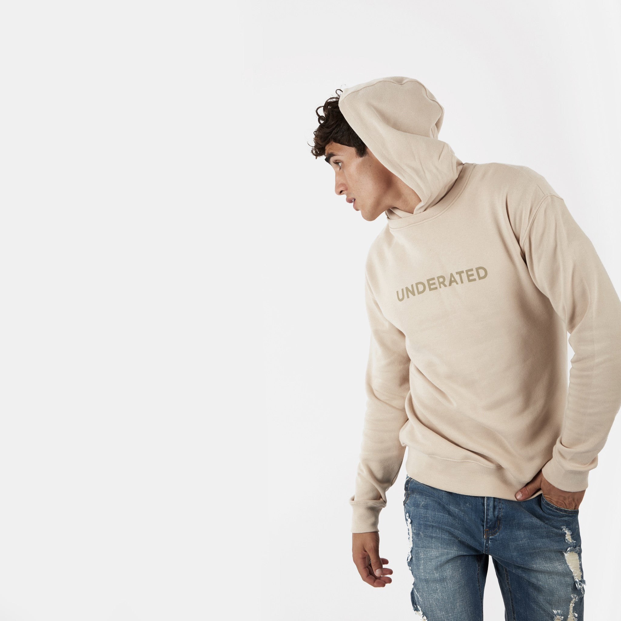 HD395 Essential Print Hoody - Nude - underated london - underatedco - 3