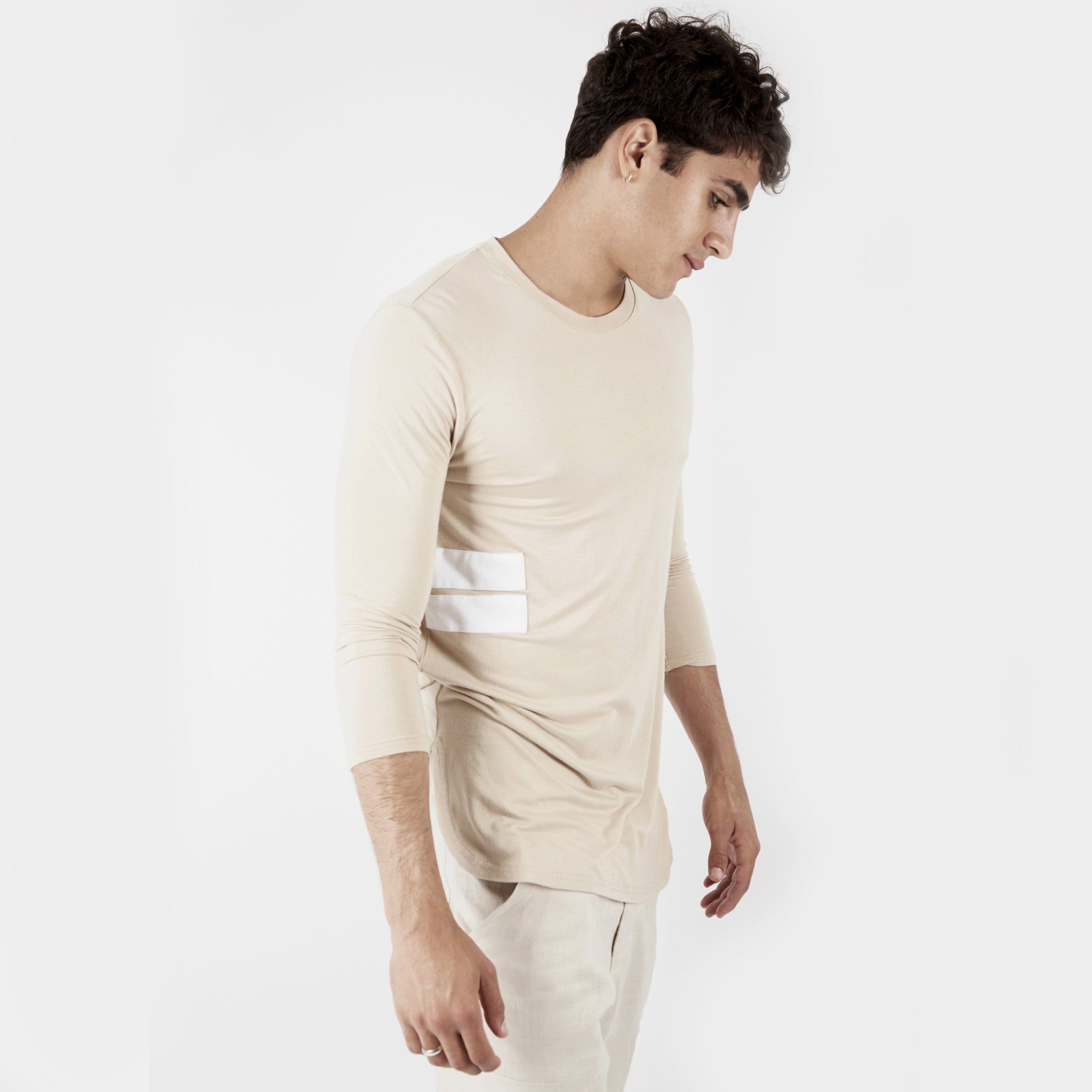 2 Pack Under Layer 3/4 Sleeve Tee - Khaki/Beige - underated london - underatedco - 3