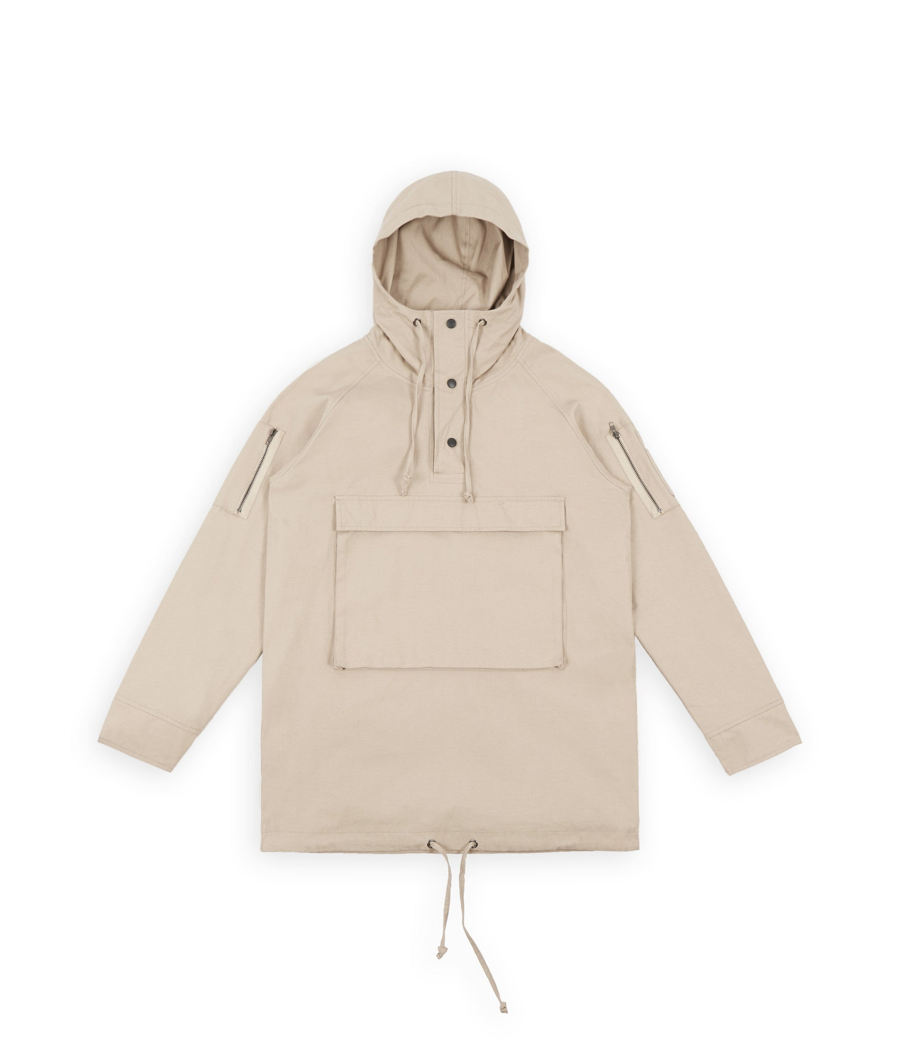D22 Hooded Pullover Anorak  - Beige - underated london - underatedco - 2