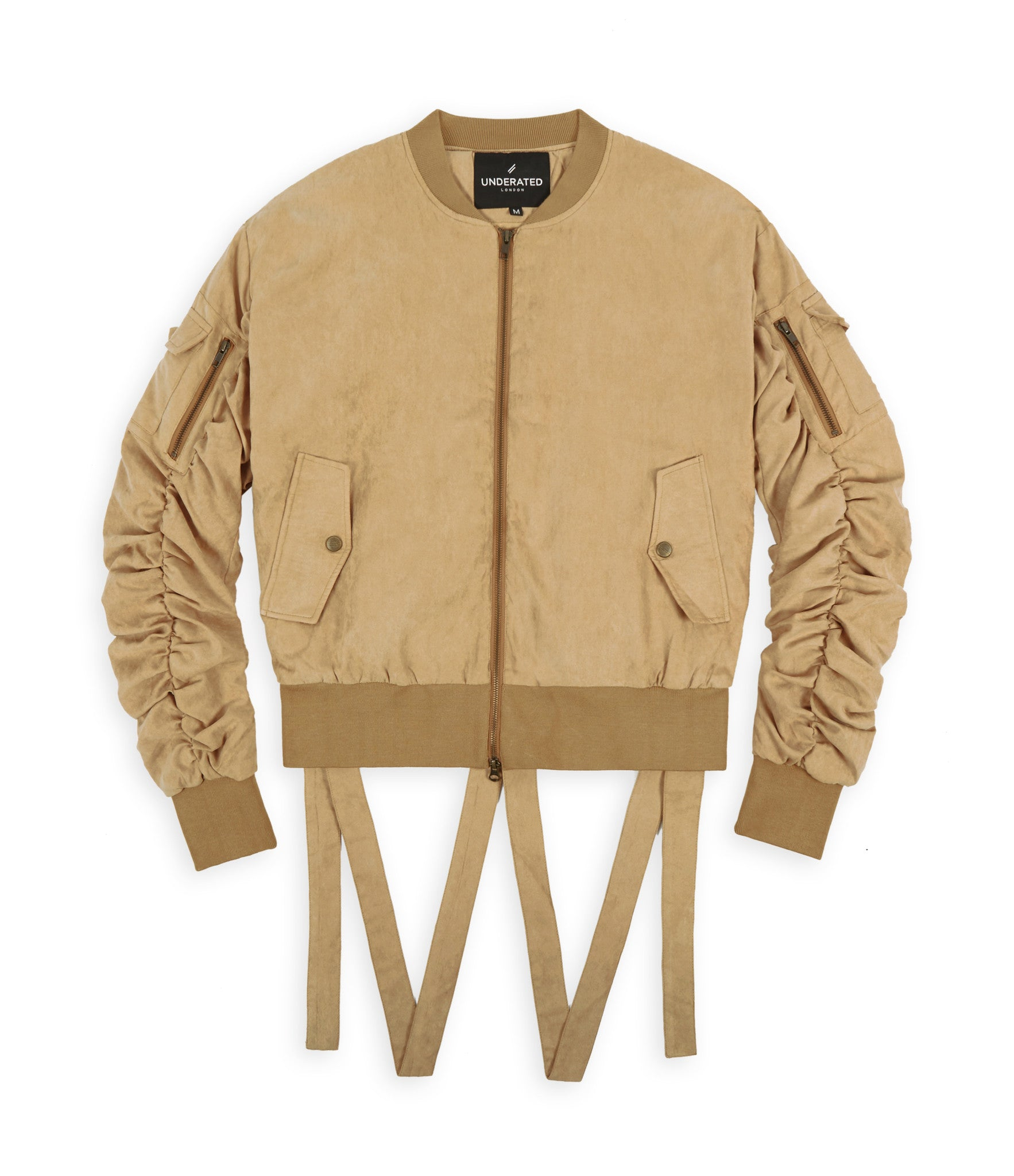 JK264 Suede Strapped Bomber Jacket - Beige - underated london - underatedco - 1