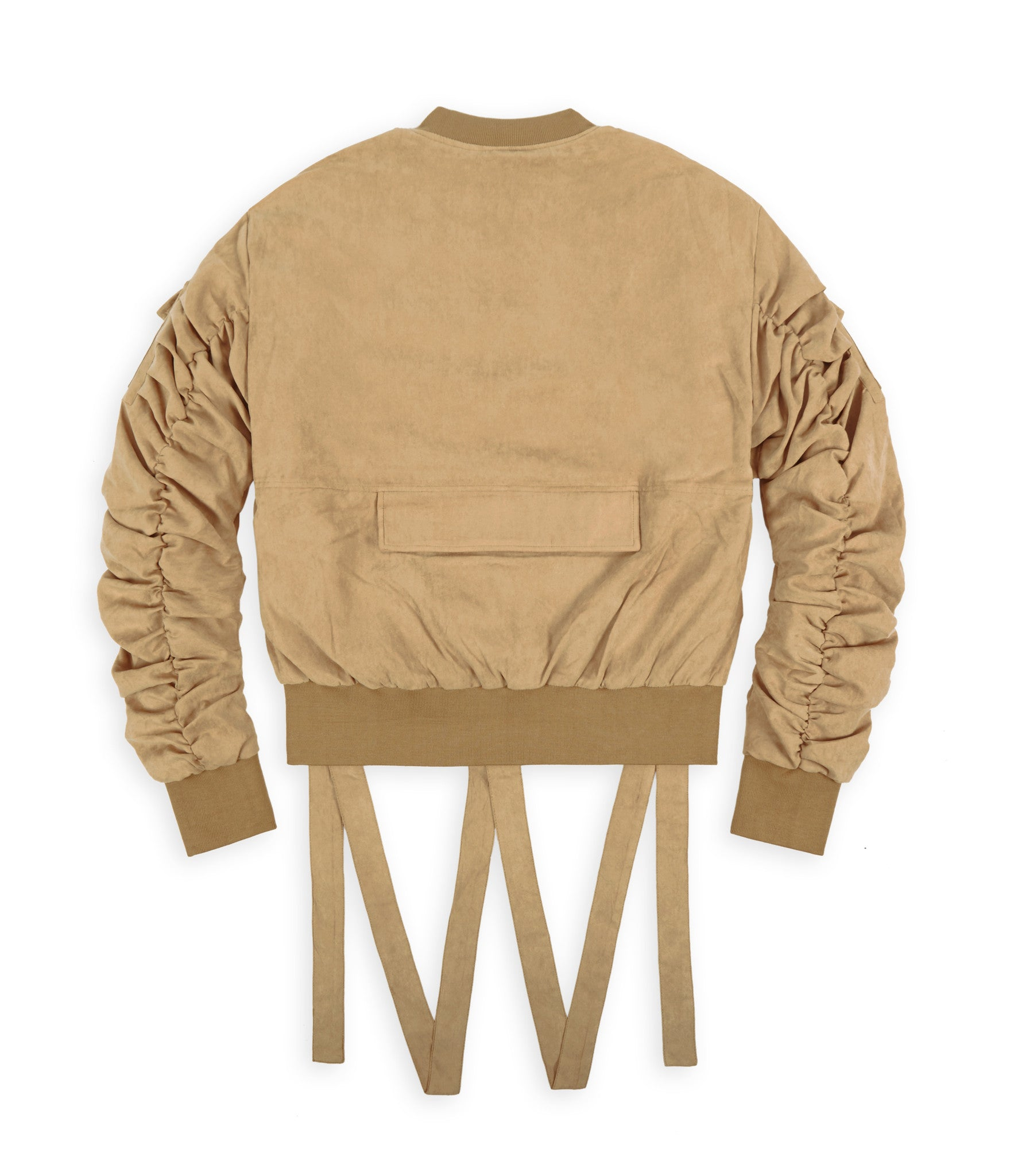 JK264 Suede Strapped Bomber Jacket - Beige - underated london - underatedco - 2