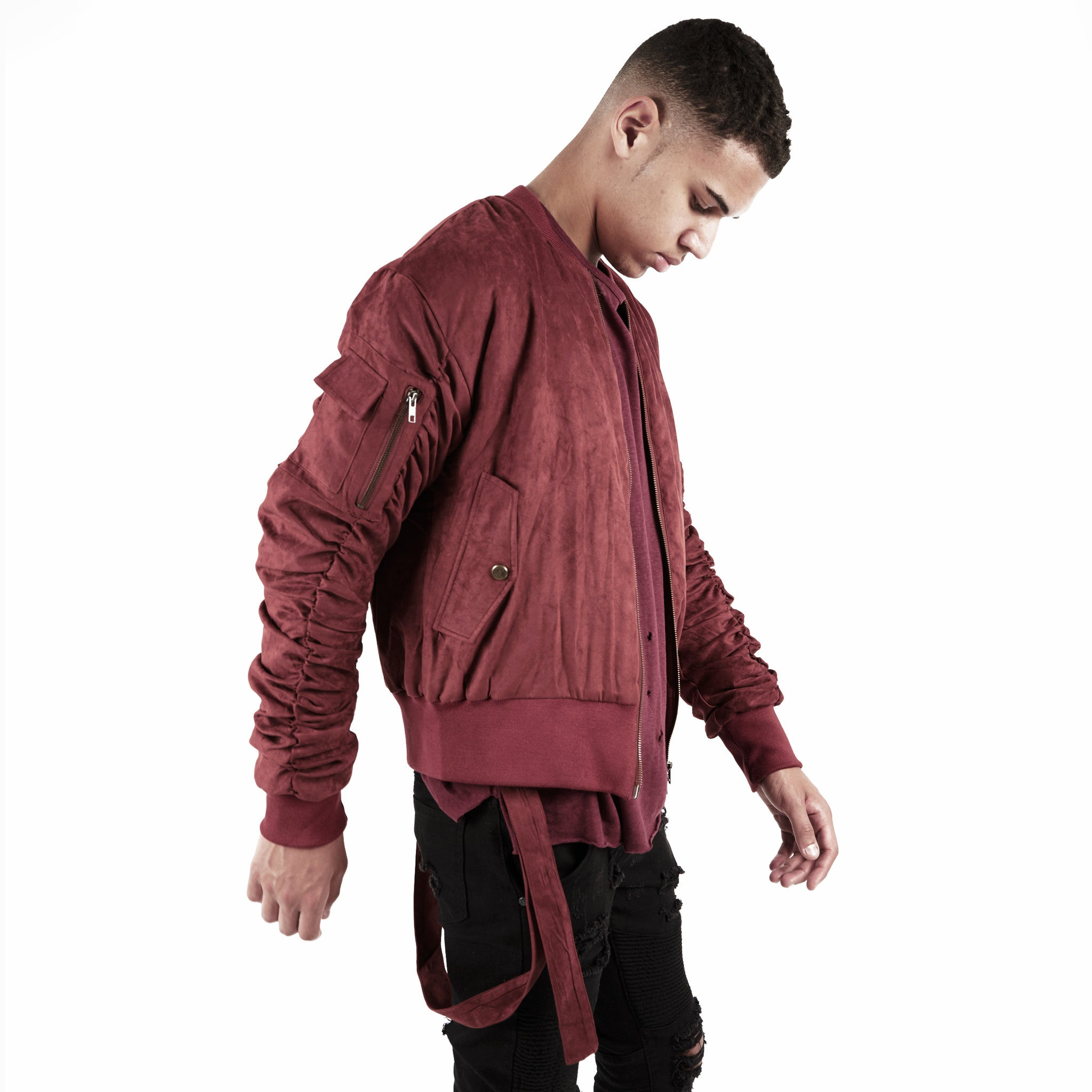 JK264 Suede Strapped Bomber Jacket - Oxblood - underated london - underatedco - 6