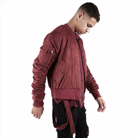 JK264 Suede Strapped Bomber Jacket - Oxblood - underated london - underatedco - 1