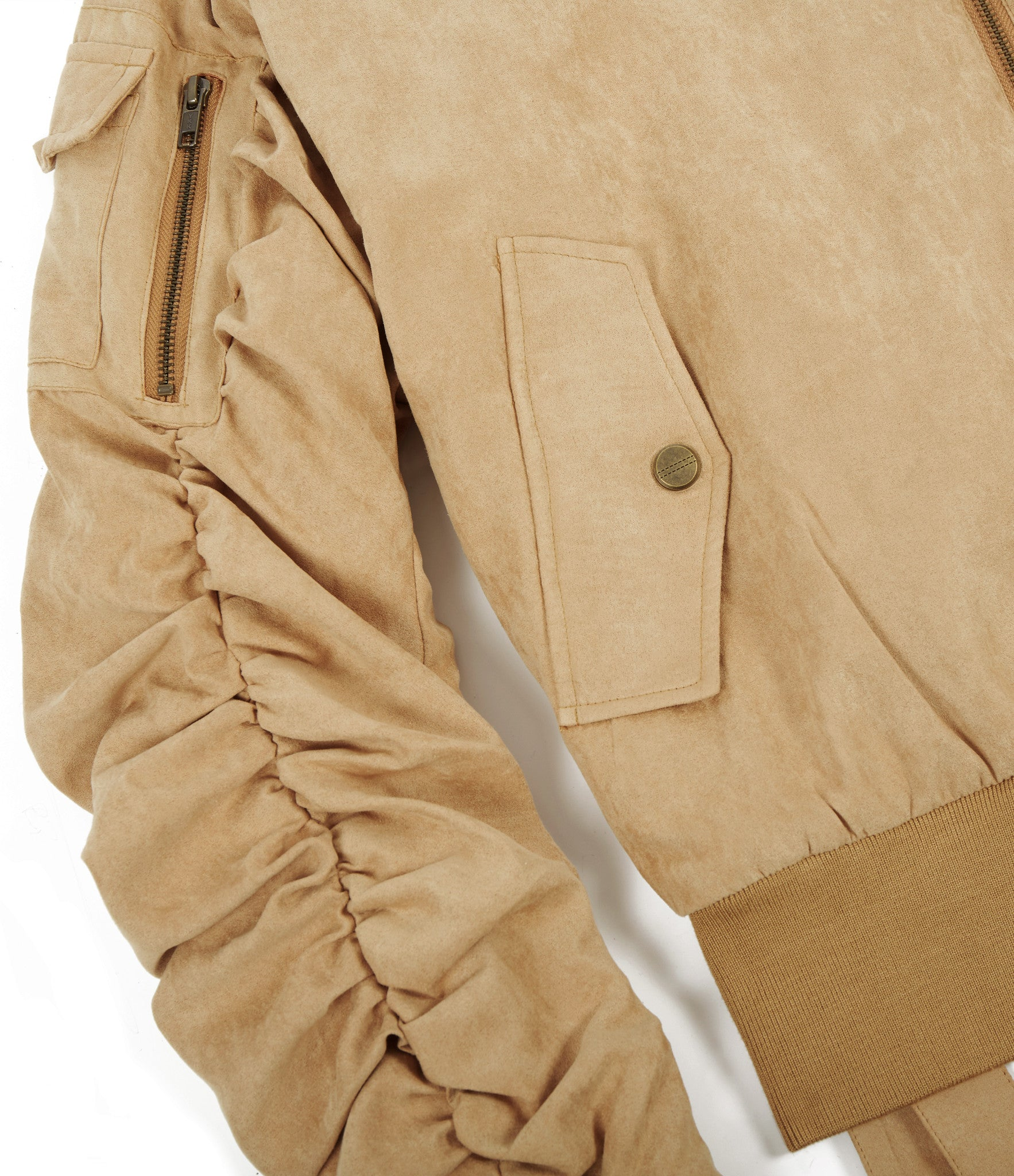 JK264 Suede Strapped Bomber Jacket - Beige - underated london - underatedco - 3