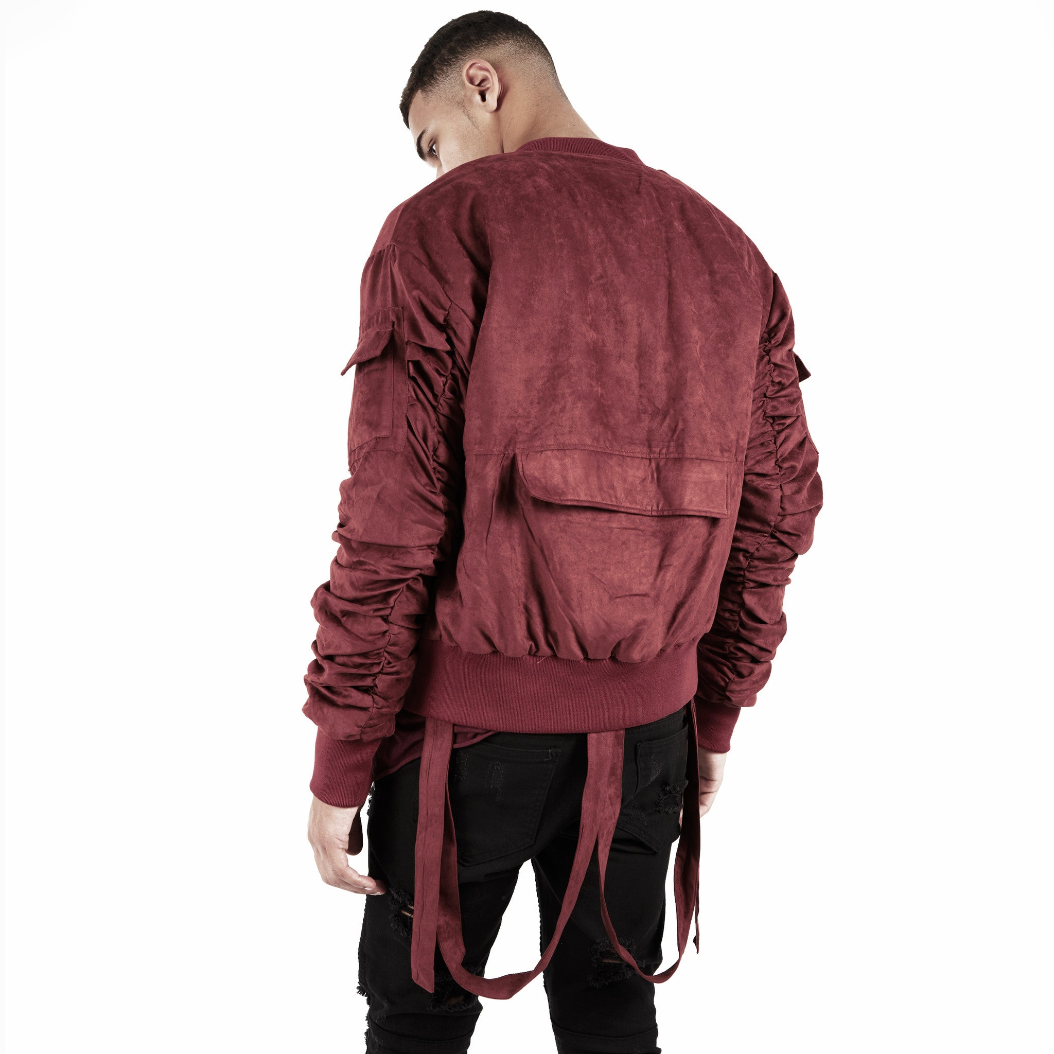 JK264 Suede Strapped Bomber Jacket - Oxblood - underated london - underatedco - 5