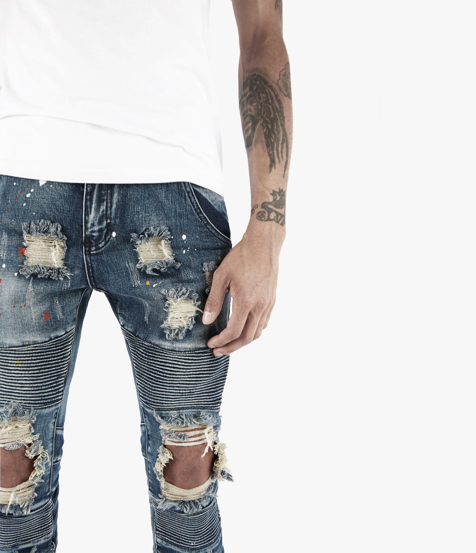 JN152 Distressed Paint Splatter Biker Denim - Indigo - underated london - underatedco - 5