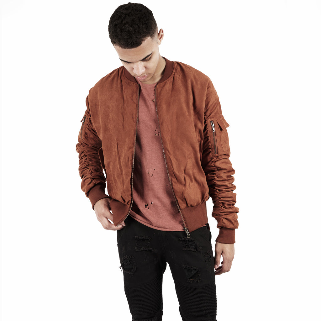JK264 Suede Strapped Bomber Jacket - Rust - underated london - underatedco - 5
