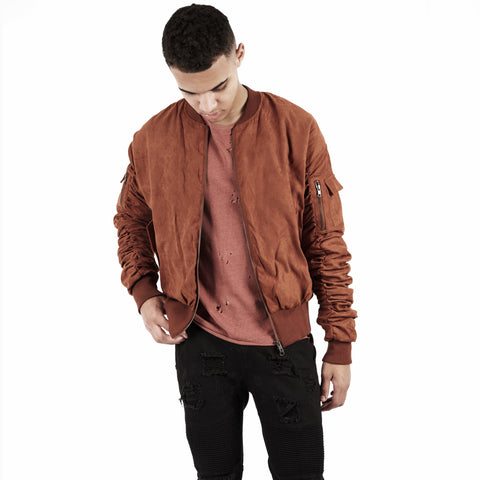 JK264 Suede Strapped Bomber Jacket - Rust - UNDERATED