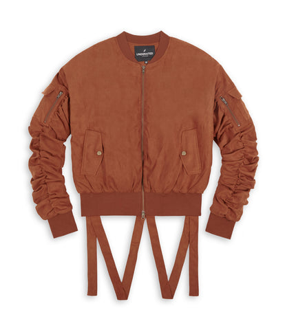 JK264 Suede Strapped Bomber Jacket - Rust - underated london - underatedco - 1