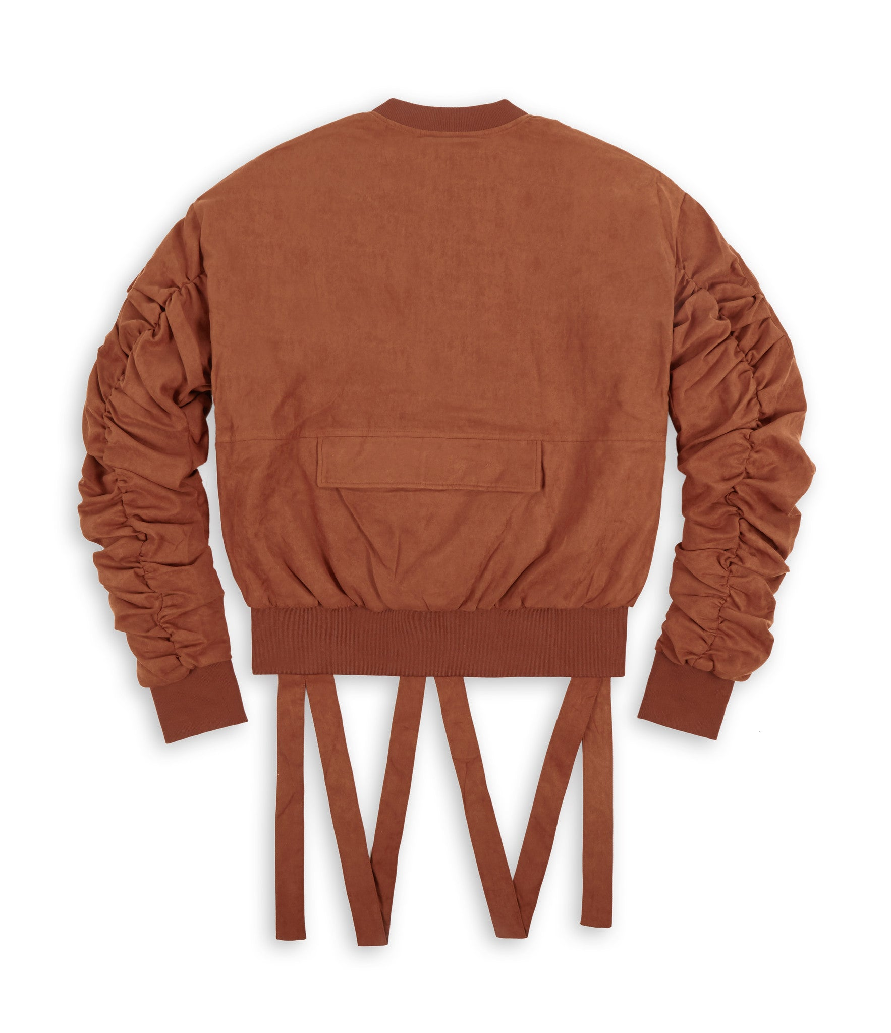 JK264 Suede Strapped Bomber Jacket - Rust - underated london - underatedco - 2