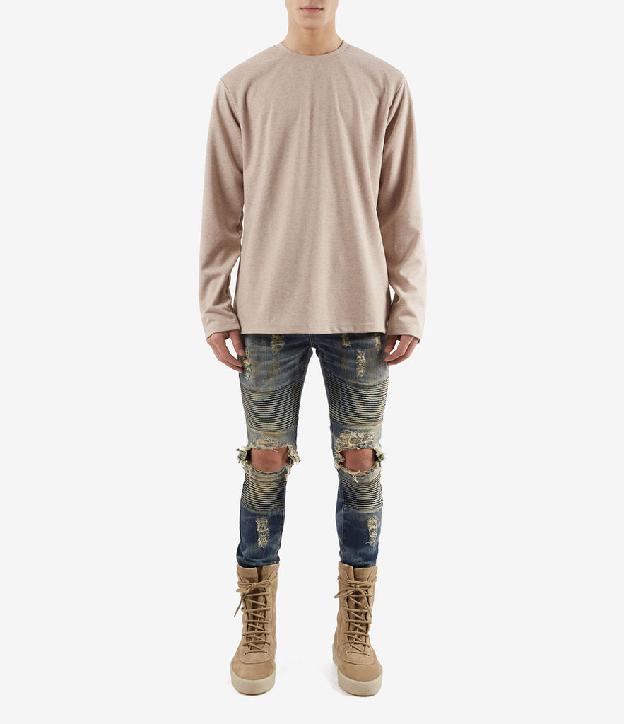 TS379 Knit Jersey L/S Tee - Sand - underated london - underatedco - 2