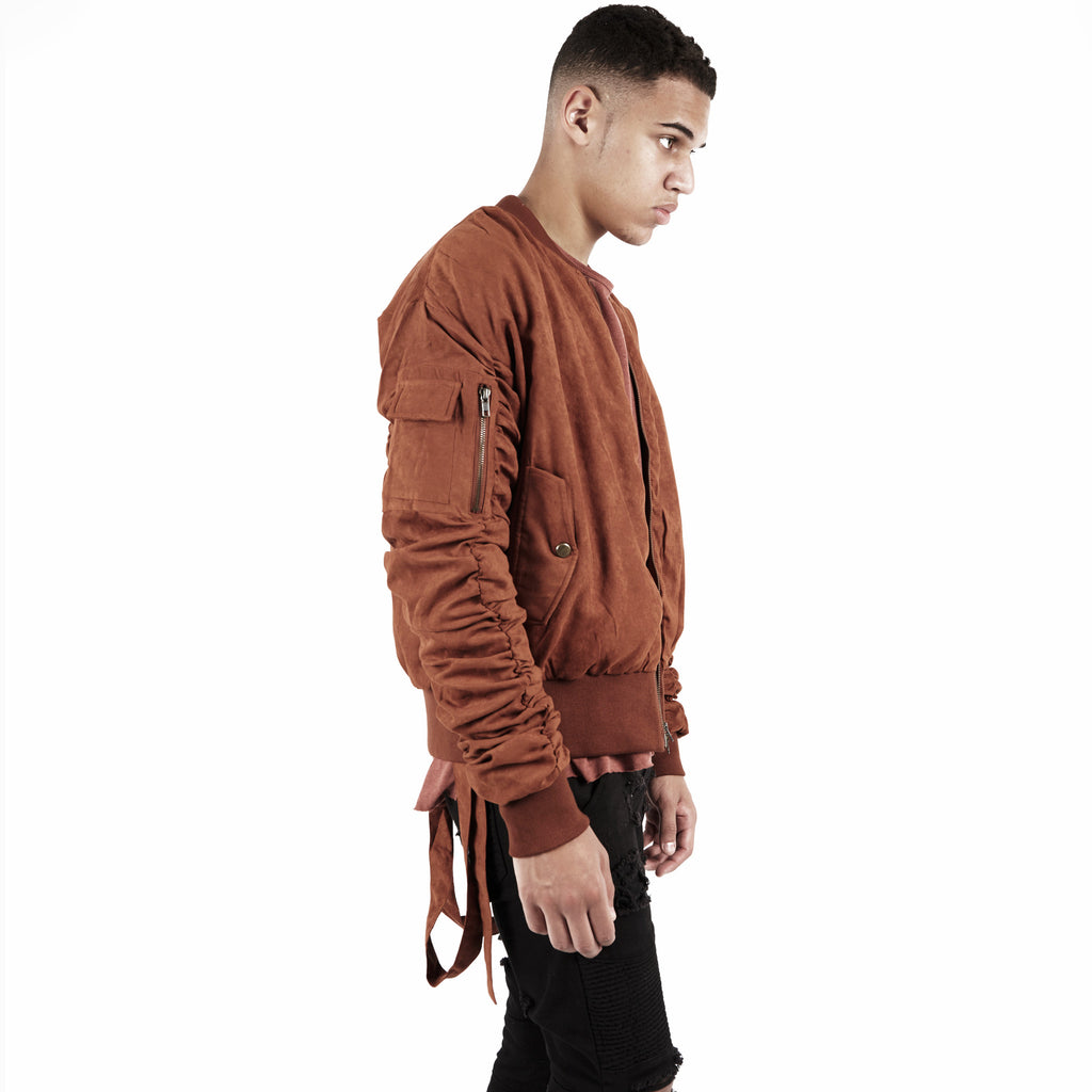 JK264 Suede Strapped Bomber Jacket - Rust - underated london - underatedco - 7