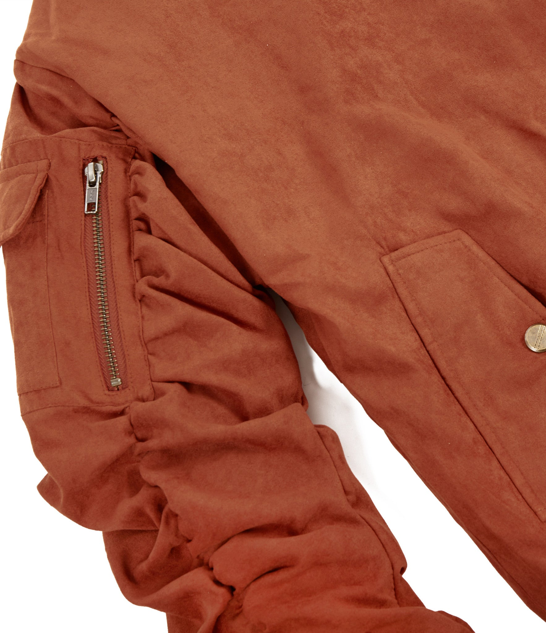 JK264 Suede Strapped Bomber Jacket - Rust - underated london - underatedco - 4