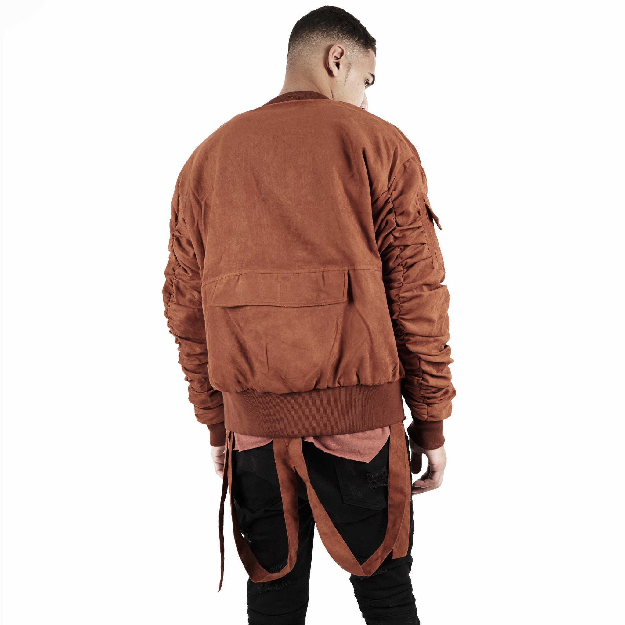 JK264 Suede Strapped Bomber Jacket - Rust - underated london - underatedco - 6