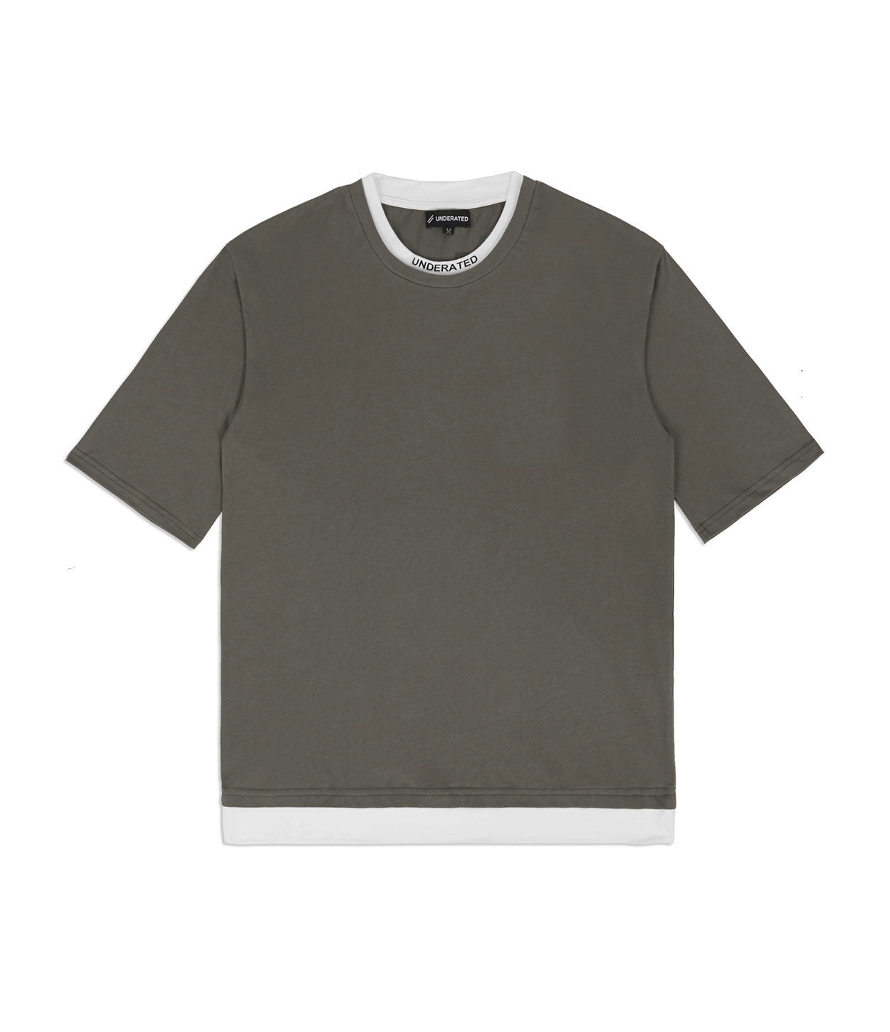 TS380 Collar Print Tee - Khaki - underated london - underatedco - 1